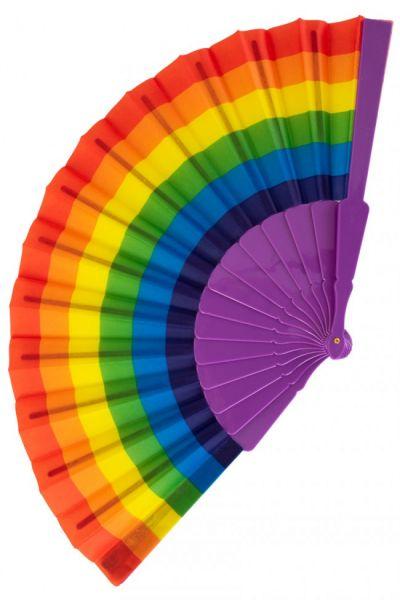 Hand fan rainbow colors