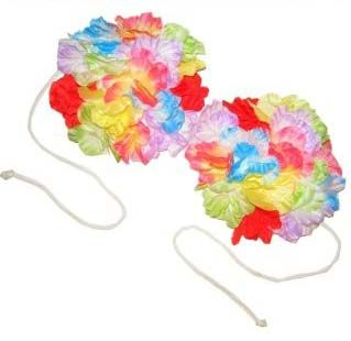 Hawaiian bra with colored flowers
