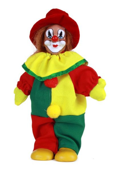 Clown doll with hat red yellow green