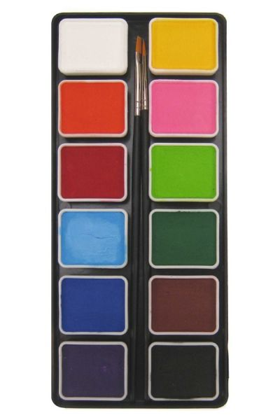 Aqua face paint pallet 12 x 6 grams of basic colors with 2 brushes size 2