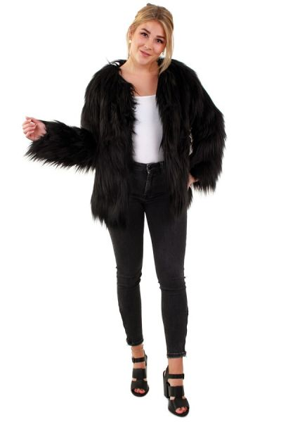 Ladies fur coat long hair black