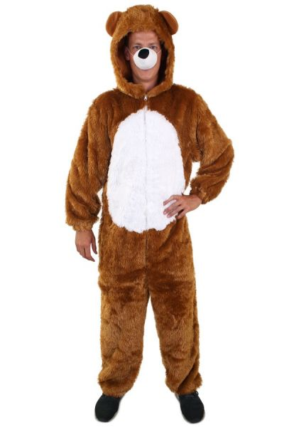 Brown bear costume with white belly
