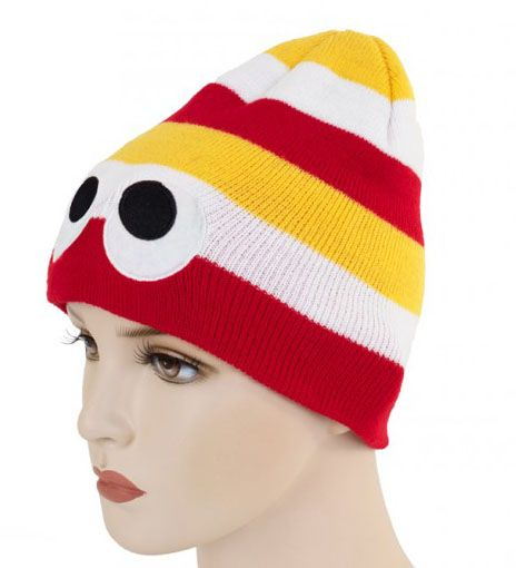 Knitted hat red white yellow with eyes