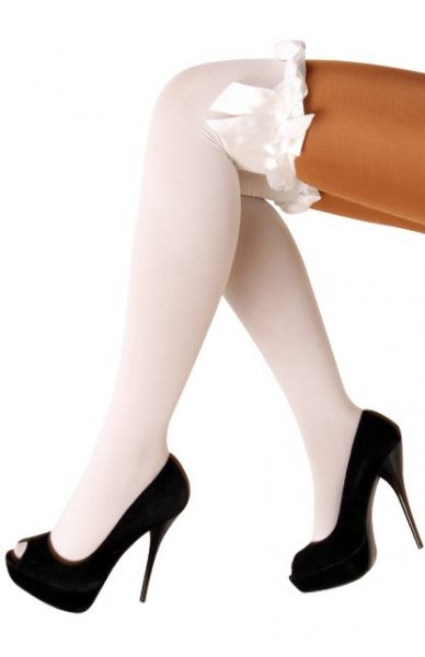 Stay-up stockings white with bow