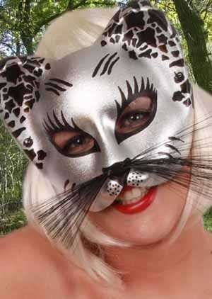 Eye mask cat silver black with whiskers