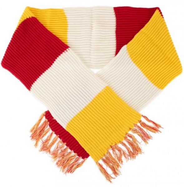Super chunky knitted scarf red-white-yellow