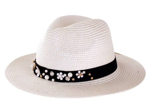 Ladies flah hat with flower band