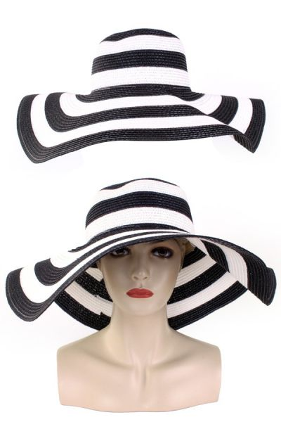 Ladies flah hat with black and white stripes