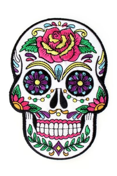 Application sugar skull flowers