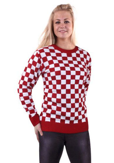 Knitted sweater red white checkered