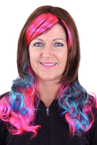 Wig Lolita Brown with pink and blue strands