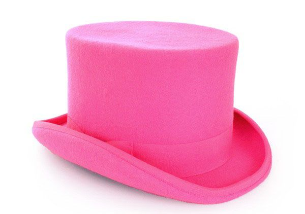 Cylinder hat wool felt pink