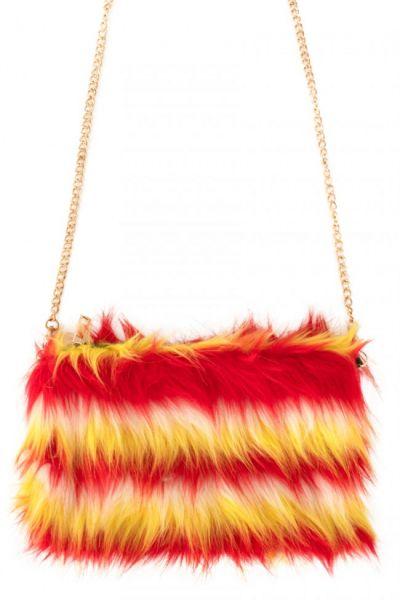 Bag red white yellow plush