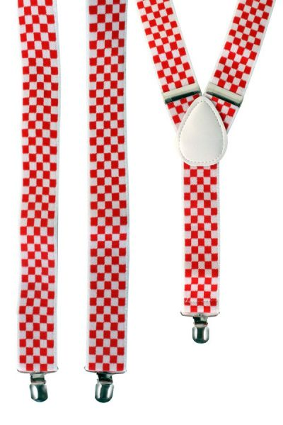 Suspenders red white checkered