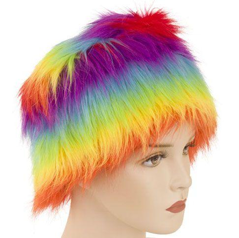 Fur hat rainbow colors