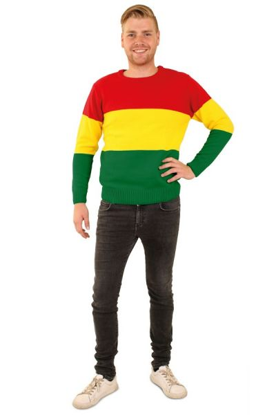 Knitted carnival sweater red yellow green striped