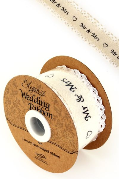 Eleganza wedding ribbon cotton lace edge on a roll
