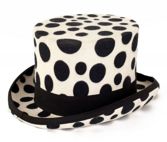 White top hat with black spheres