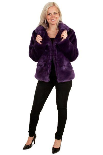 Ladies Fur Coat purple