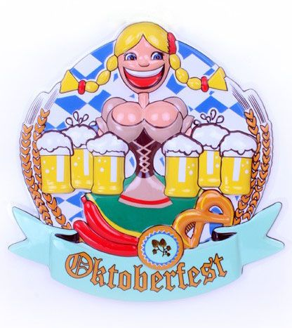 Oktoberfest Dirndl with beer mugs Deco 6 pieces