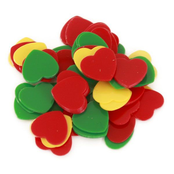 Confetti hearts 6 mm red yellow green