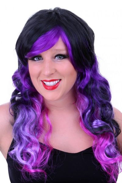 Ladies Wig black with purple