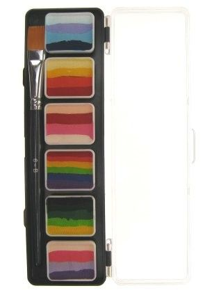 PartyXplosion Special FX paint 6 x 6 gram splitcake palet with a brush