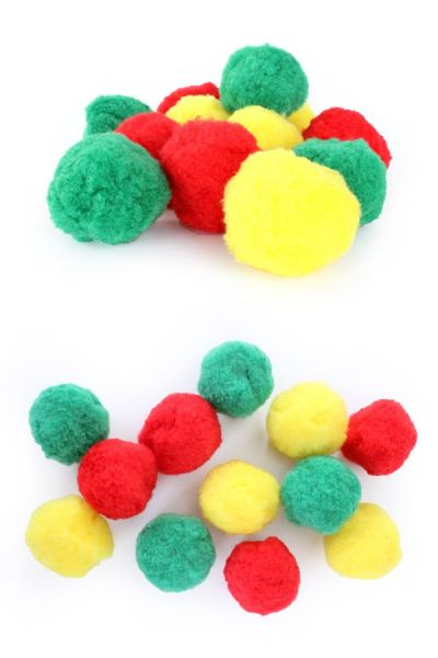 carnival pompoms red yellow green