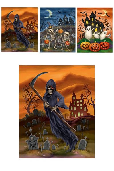 Horror Halloween 3 D window stickers