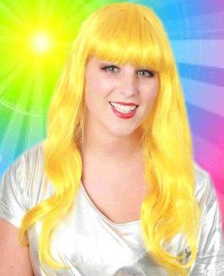 Ladies wig long style hair yellow