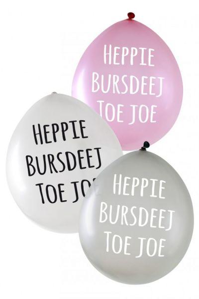 Metallic balloons Heppie Bursdeej per 24 pieces