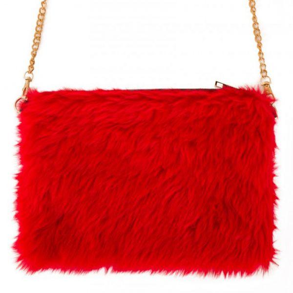Bag red fur plusche