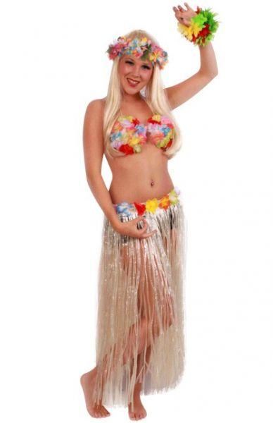 Hawaiian skirt long with colored flowers