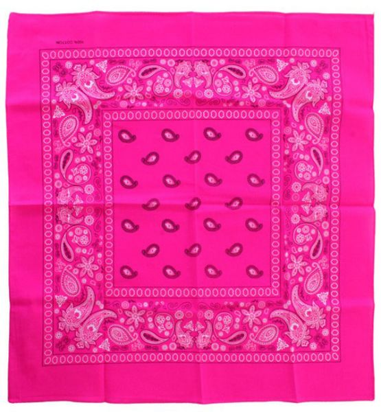 Handkerchief fluorine pink bandana with pattern