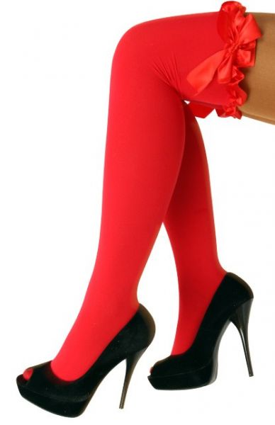 Red Stay-up stockings with bow