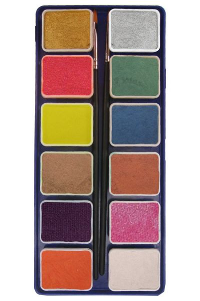 PXP 12 x 6 gram metallic colours palet with 2 brushes
