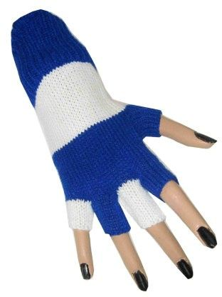 Fingerless gloves blue white striped