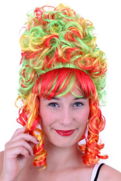 Court lady wig Red Yellow Green