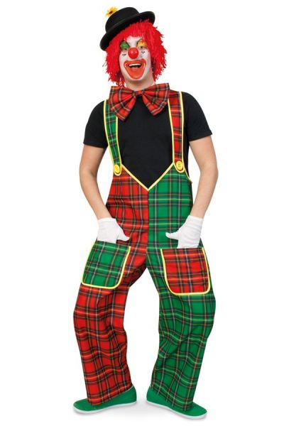 Dungarees clown red green