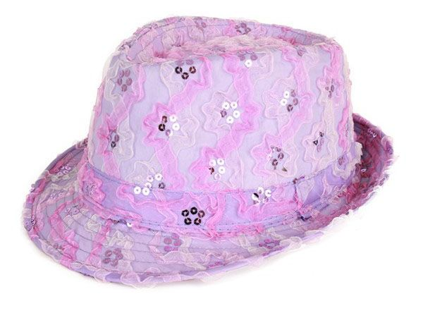 Gangster hat ruffle with sequins purple