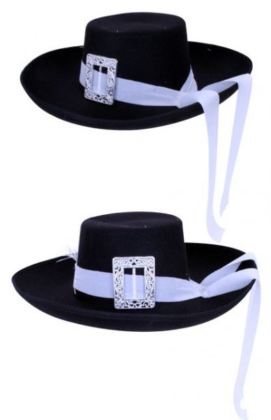 Musketeer hat black with white band