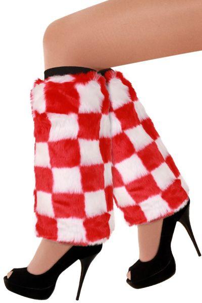 Leg warmers red white checkered plusche