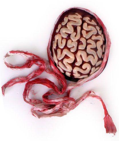 Halloween Zombie brain with bandage