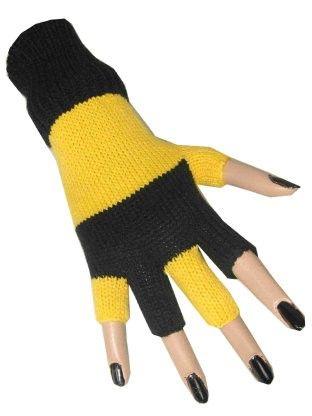 Fingerless gloves black yellow striped