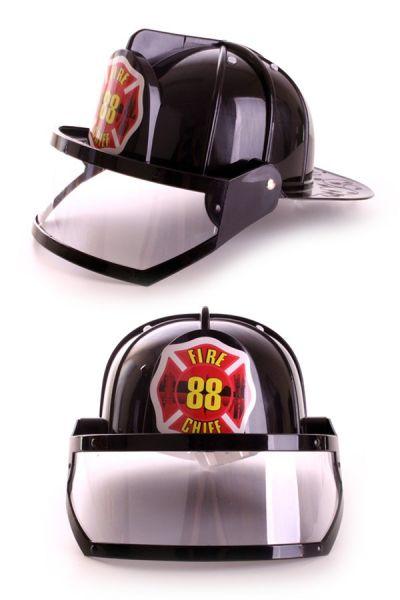 Plastic fireman helmet black
