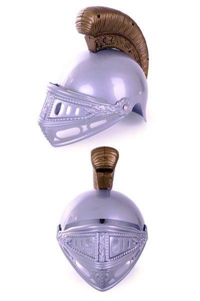 Plastic knight helmet silver gold child