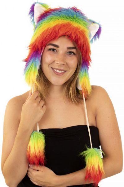 Funny hat plush rainbow colors