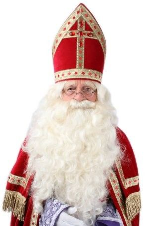 Saint Nicholas steep beard with fixed mustache color eggshell