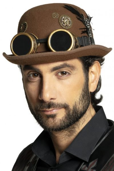 Steampunk bowler hat with glasses
