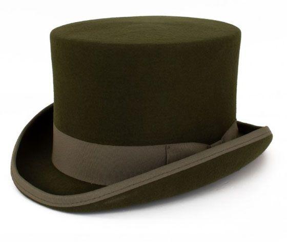 Green wool wool top hat